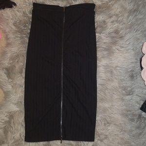 Bebe Black Zip Up Midi Pencil Skirt
